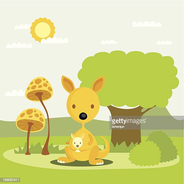 kangaroo - australia day stock illustrations
