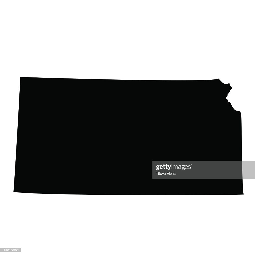 Kansas black map on white background