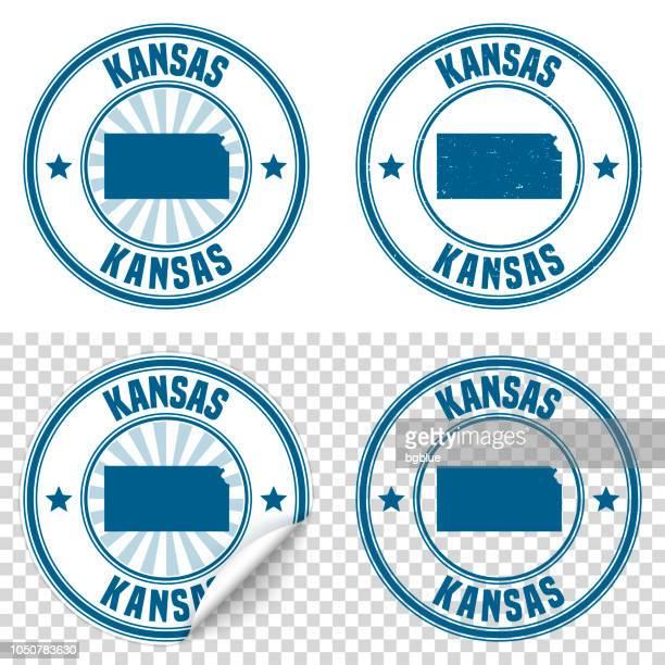 kansas - blauen aufkleber und stempel mit namen und karte - kansas stock-grafiken, -clipart, -cartoons und -symbole