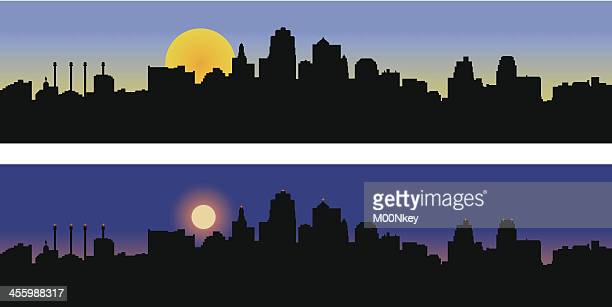 kansas city missouri skyline-tag und nacht - kansas city missouri stock-grafiken, -clipart, -cartoons und -symbole
