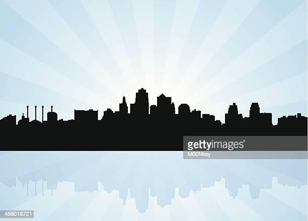 skyline von kansas city, missouri - kansas city missouri stock-grafiken, -clipart, -cartoons und -symbole