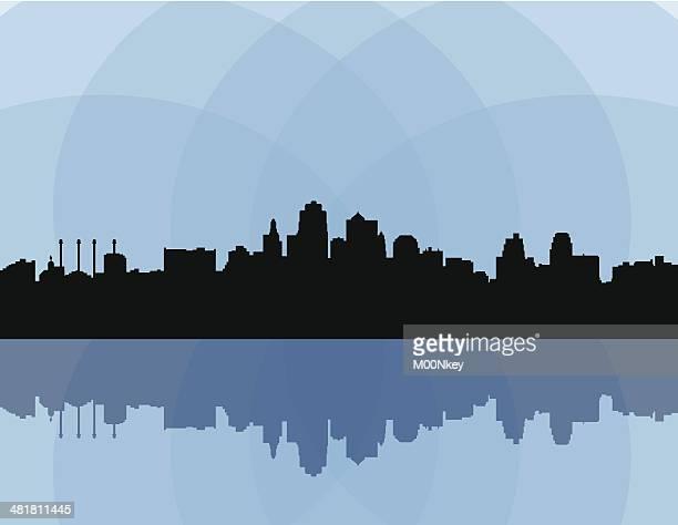 skyline von kansas city - kansas city missouri stock-grafiken, -clipart, -cartoons und -symbole
