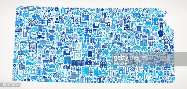 kansas bau industrie vektormuster symbol - kansas stock-grafiken, -clipart, -cartoons und -symbole