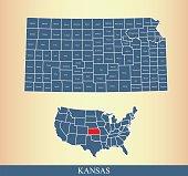 Kansas county map outline vector illustration in creative design