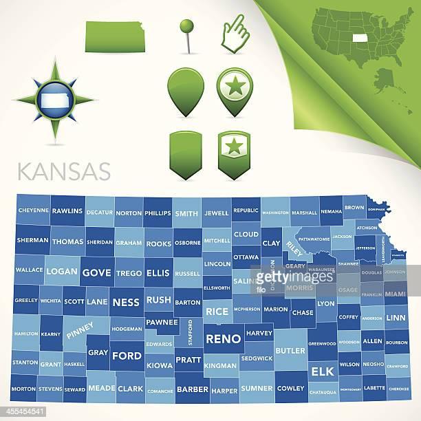 kansas county map - wichita stock illustrations