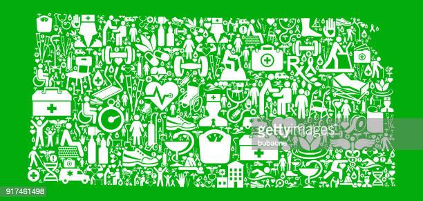 kansas green medical rehabilitation physical therapy - icon collage stock illustrations