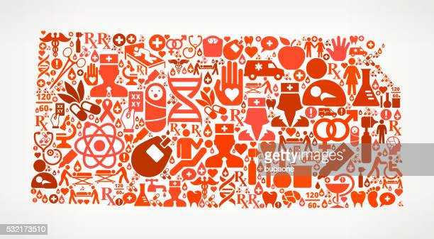 Kansas Healthcare and Medical Red Icon Pattern