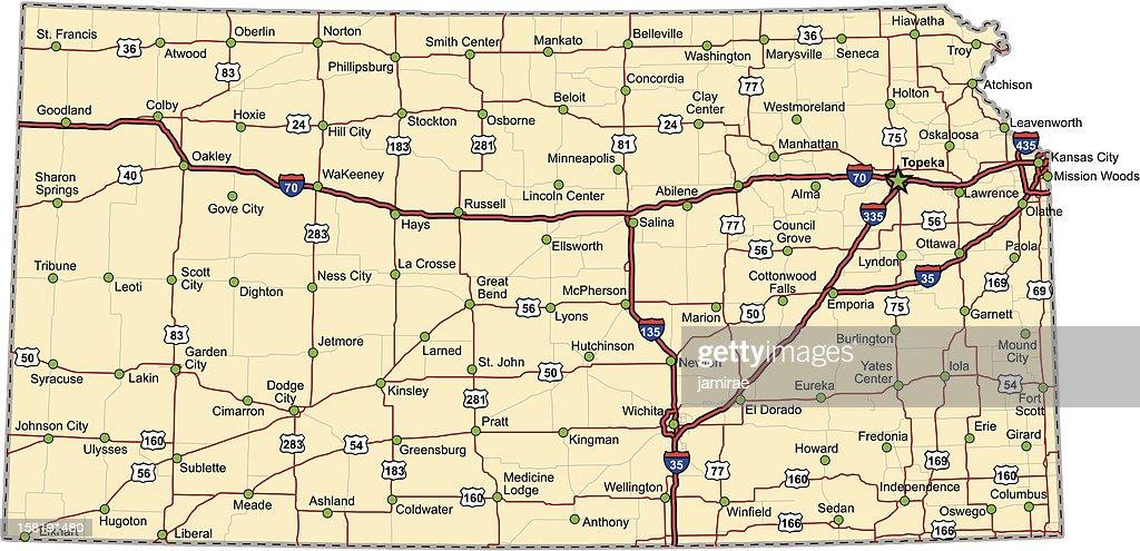 Kansas Highway Map (vector)