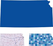 Kansas in solid, roads, and county mapping
