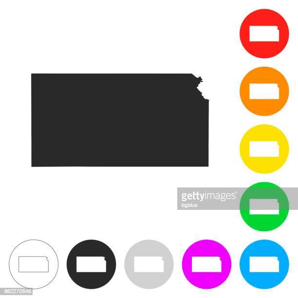 kansas karte - flache symbole auf verschiedenen farbigen tasten - kansas stock-grafiken, -clipart, -cartoons und -symbole