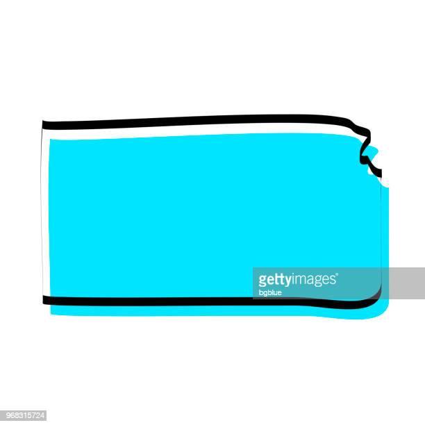 kansas karte hand gezeichnet auf weißem hintergrund, trendiges design - kansas stock-grafiken, -clipart, -cartoons und -symbole