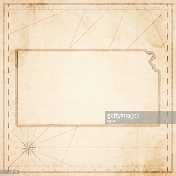 karte von kansas im retro-vintage-stil - strukturierte altpapier - kansas stock-grafiken, -clipart, -cartoons und -symbole