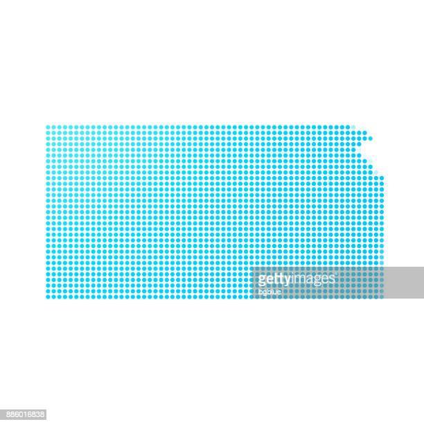 Kansas map of blue dots on white background