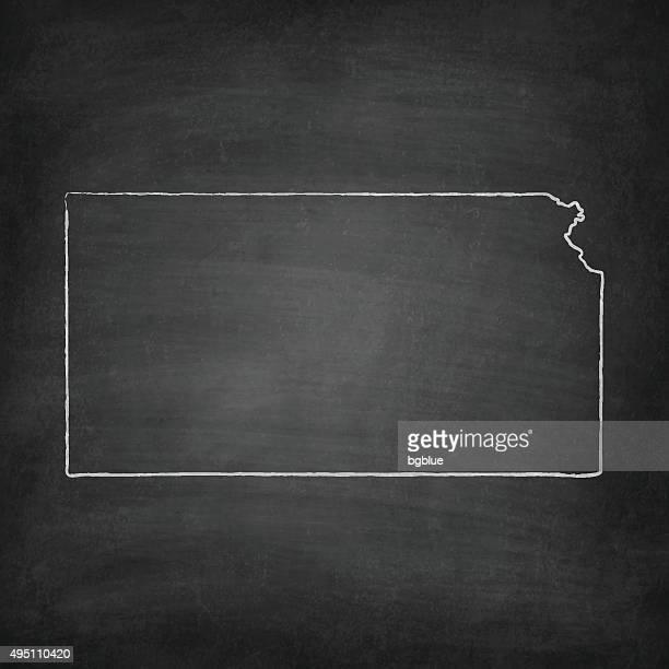 kansas-karte auf tafel-tafel - kansas stock-grafiken, -clipart, -cartoons und -symbole