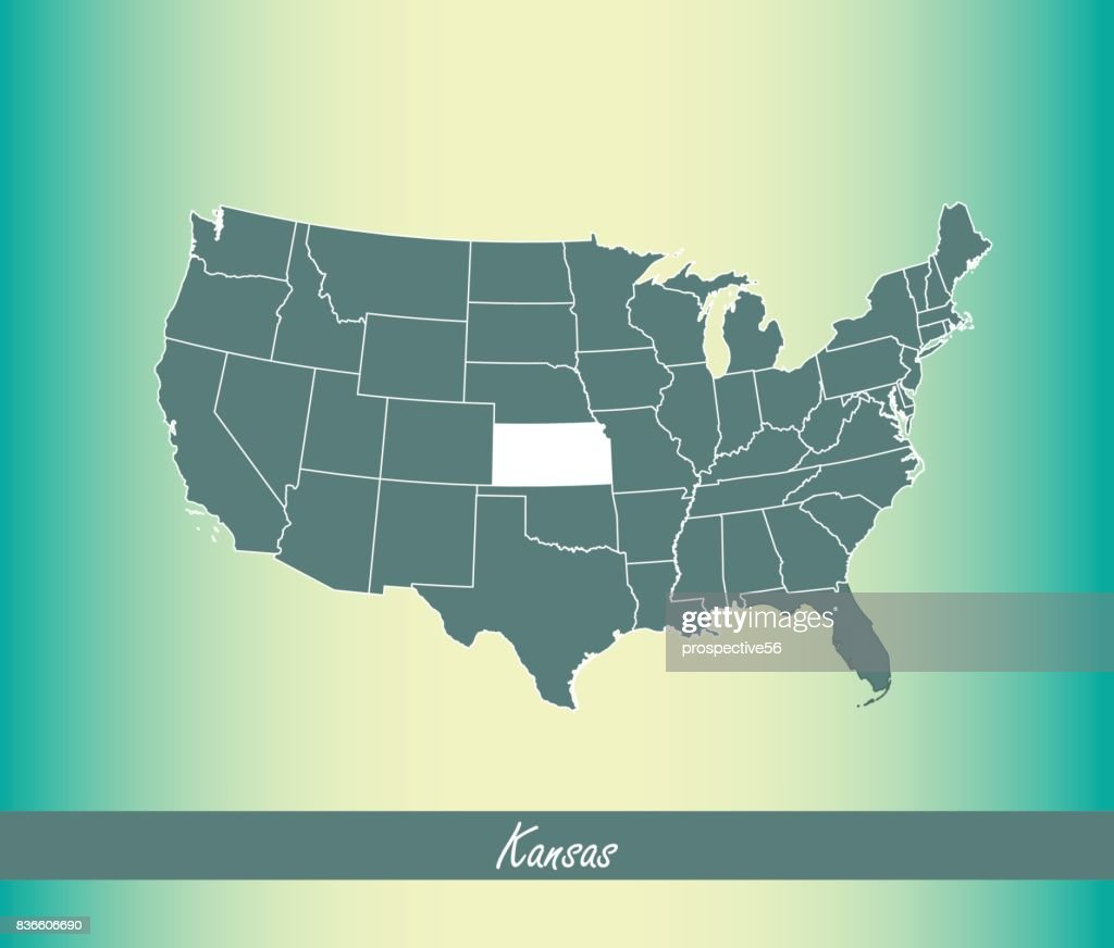 Kansas Map Vector Outline Illustration Highlighted In Usa Map Vector ...