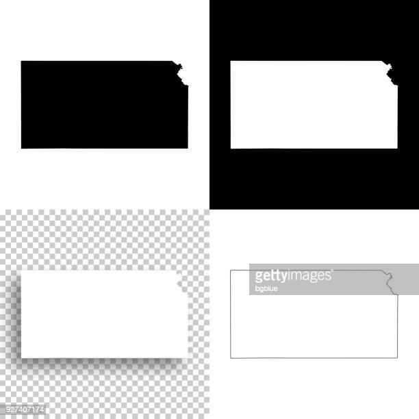 kansas maps for design - blank, white and black backgrounds - kansas stock illustrations