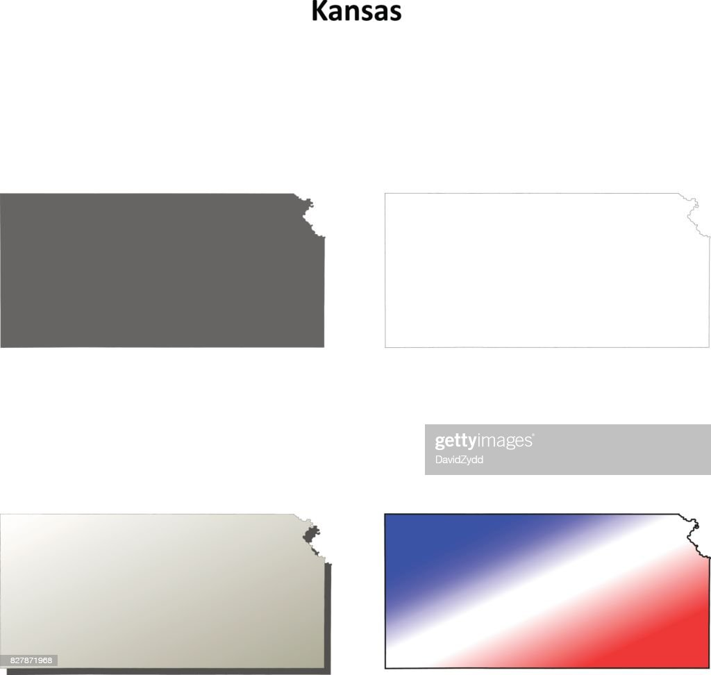 Kansas Outline Map Set Vector Art Getty Images