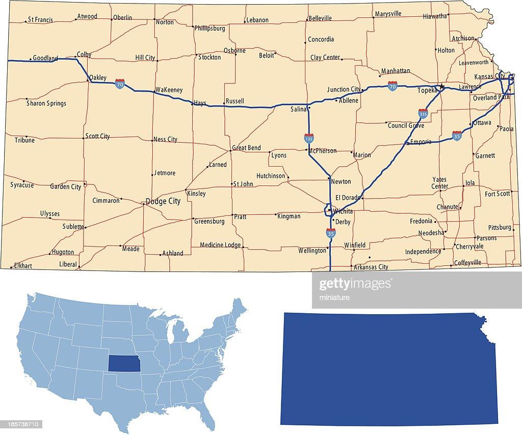 Kansas road map vector art getty images kansas road map vector art gumiabroncs Image collections