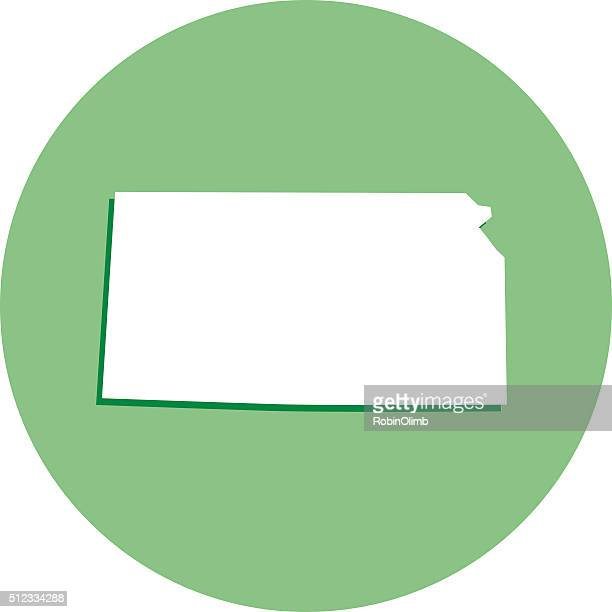 kansas runde karte, symbol - kansas stock-grafiken, -clipart, -cartoons und -symbole
