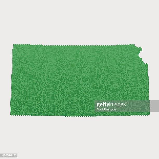 Kansas State Map Green Hexagon Pattern