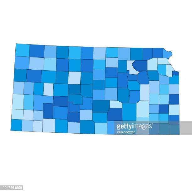 kansas state map with counties - declaration of independence stock illustrations, clip art, cartoons, & icons