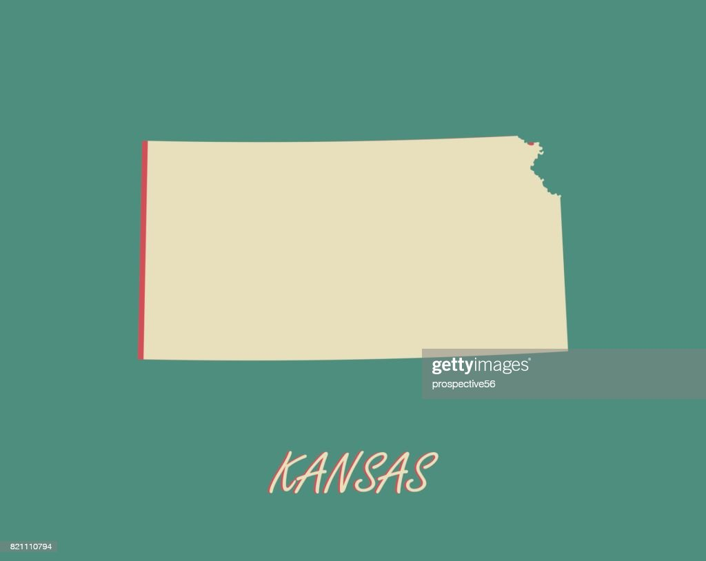 Kansas State Of Usa Map Vector Outlines In A 3d Illustration ...