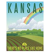 Kansas travel poster. Vector illustration of farm with tornado, storm and rainbow.