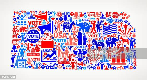 Kansas Vote and Elections USA Patriotic Icon Pattern