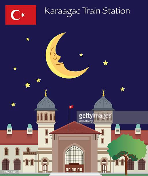 edirne - karaagac train station - selimiye mosque stock illustrations