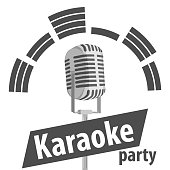 Karaoke, black and white illustration of a microphone karaoke for a party. Vector illustration.