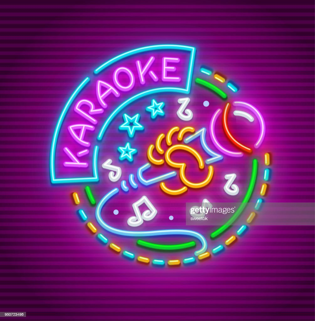 Karaoke club for singing with microphone neon