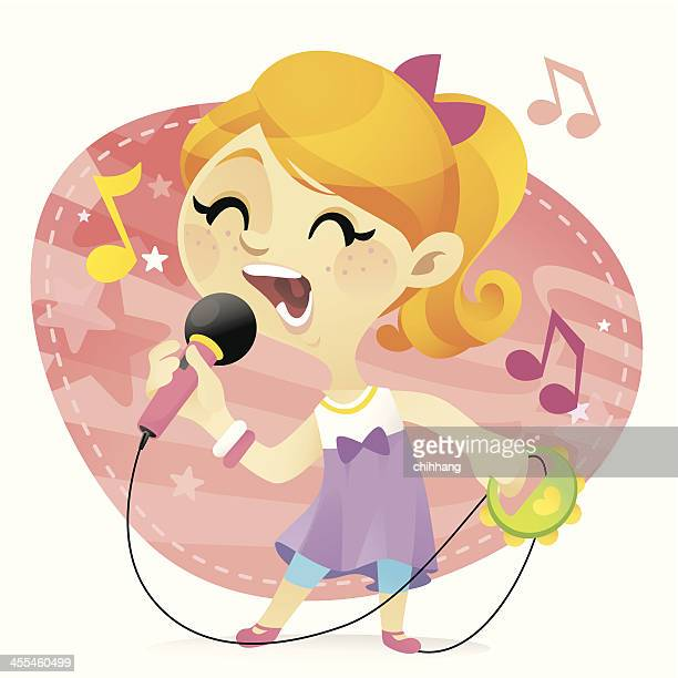karaoke girl - karaoke stock illustrations