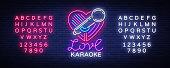 Karaoke Love neon style. Neon sign, bright nightly neon advertising Karaoke. Light banner, bright night billboard. Vector illustration. Editing text neon sign