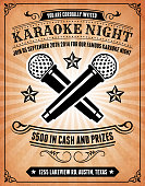 Karaoke Night Invitation on royalty free vector Background Poster