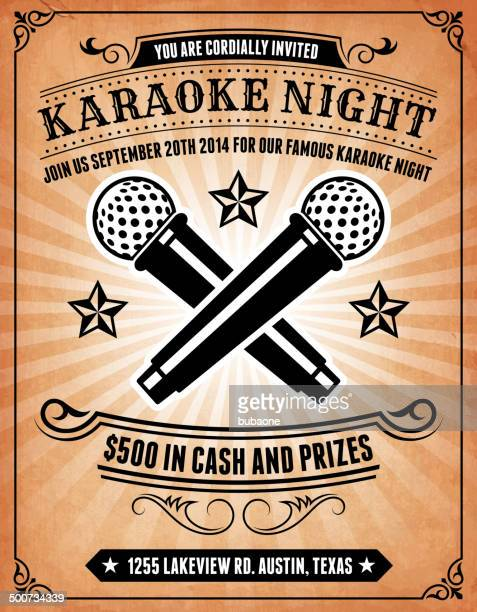 karaoke night invitation on royalty free vector background poster - karaoke stock illustrations