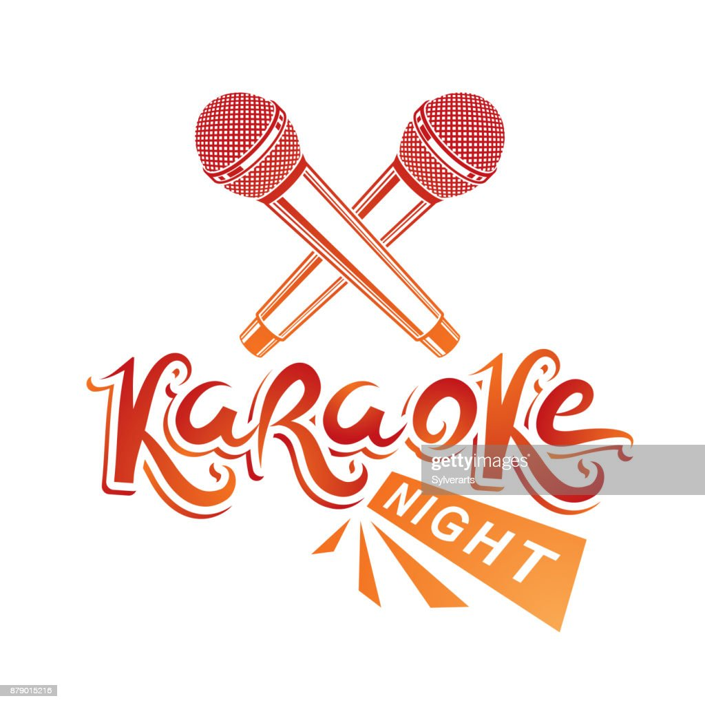 Karaoke night lettering, nightclub party invitation vector emblem created using two microphones crossed, audio equipment.