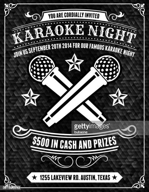 karaoke night poster on black background - karaoke stock illustrations