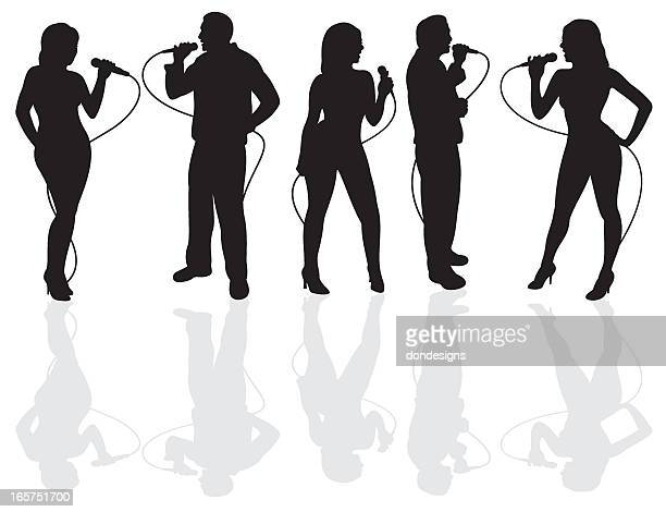 karaoke night silhouette - karaoke stock illustrations