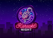 Karaoke night vector. Neon sign, luminous , symbol, light banner. Advertising bright night karaoke bar, party, disco bar, night club. Live music. Design template. Billboard