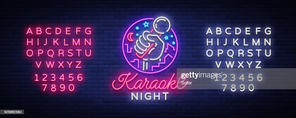 Karaoke night vector. Neon sign, luminous symbol, symbol, light banner. Advertising bright night karaoke bar, party, disco bar, night club Live music. Design template. Editing text neon sign