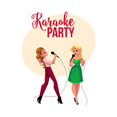 Karaoke party, contest banner, poster with two girls singing together