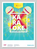 Karaoke party flyer or poster template design