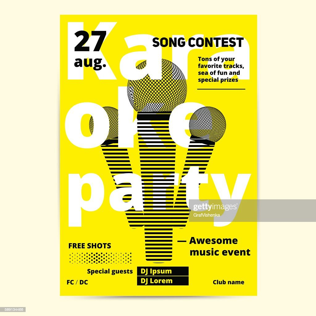 Karaoke party flyer or poster template design.