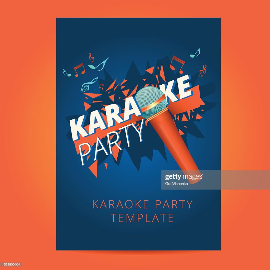 Karaoke party flyer with microphone and orange particles