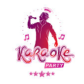 Karaoke party flyers vector cover design created using musical notes, stars and soloist singing to microphone. Emcee show advertising poster