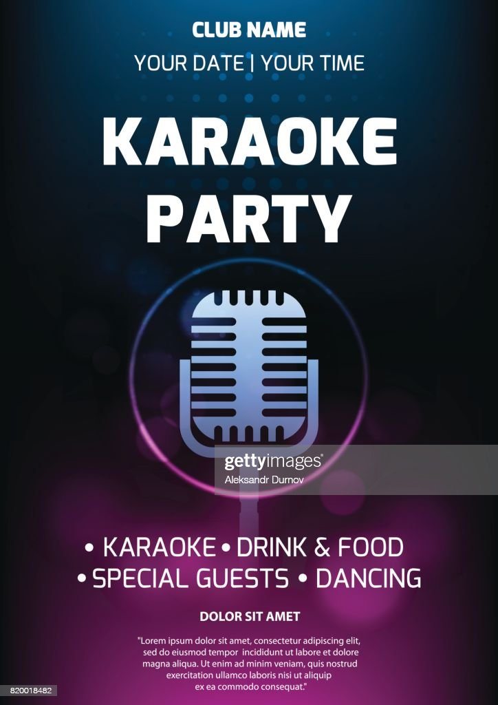 Karaoke Party Invitation Flyer Template Dark Background With ...