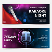Karaoke party invitation flyer template. Karaoke tickets. Dark background with abstract light and glare. Composition with Silver microphone silhouette. Horizontal format. Vector eps 10.