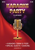 Karaoke party invitation flyer template. Red curtain on the abstract background. Light and glare. Gold retro microphone in center. A4 size. Vector eps 10.