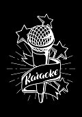 Karaoke party label. Music event background. Illustration with microphone in retro style