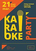 Karaoke party poster or flyer template in A4 size. Song contest pre-made layout. Music night club event banner or promotional material